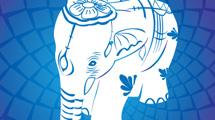 Elefante asiático en azul