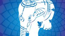 Elefante asiático sobre azul