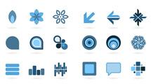 Elementos de diseño azules