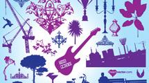Elementos de diseño en azul y violeta