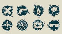 Elementos grunge en forma de sellos