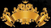 Emblema dorado con adornos y corona