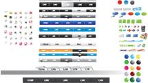 Enorme grupo de botones y elementos web con varios diseños y colores