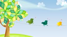 Escena con árbol y pájaros