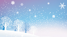 Escena nevada en violeta y celeste