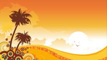 Escena tropical con palmeras y tonos naranjas