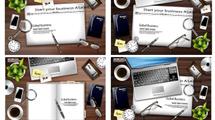 Escritorios armados con elementos de trabajo y gadgets