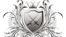 Escudo de armas plateado con adornos