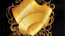 Escudo dorado con adornos y flores