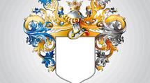 Escudo heráldico con grandes adornos