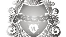 Escudo plateado con diseños florales