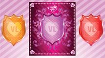 Escudos con brillos y adornos en tres colores diferentes