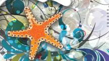 Estrella con fondo abstracto