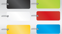 Etiquetas en seis colores diferentes