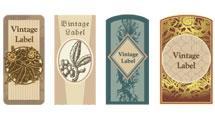 Etiquetas florales estilo vintage en diferentes tonos