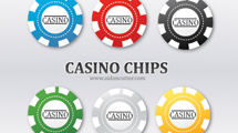 Fichas de poker en seis tonos