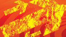Flecha amarilla grunge sobre fondo rojo