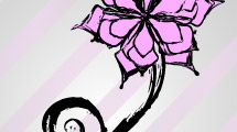 Flor rosa con líneas negras