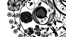 Flores abstractas negras con fondo blanco