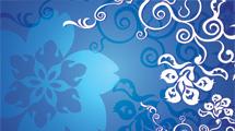 Flores azules y blancas