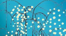Flores blancas en ramas negras