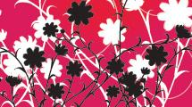 Flores blancas y negras sobre fondo rojo