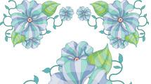 Flores celestes y verdes