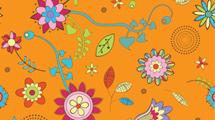 Flores coloridas sobre naranja