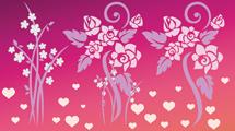 Flores con corazones rosas