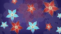 Flores en rojo y celeste