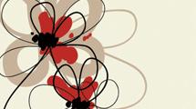 Flores en rojo y negro con detalles en marrón
