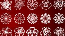 Flores lineales en blanco de todo tipo