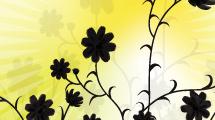 Flores negras sobre amarillo