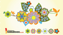 Flores retro en variados colores