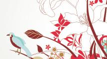 Flores rojas, celestes y blancas con aves
