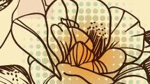 Flores sobre fondo geométrico