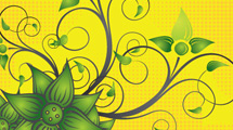 Flores verdes sobre amarillo
