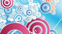 Fondo abstracto: Celeste con círculos de color