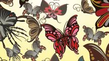 Fondo amarillo con gran cantidad de mariposas