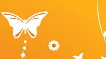 Fondo anaranjado floral