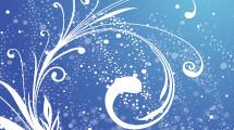 Fondo azul con swirls y puntos blancos