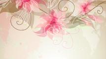 Fondo con flores rosas en la parte superior