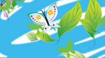 Fondo con mariposas y hojas