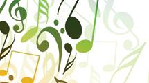 Fondo con notas musicales de color