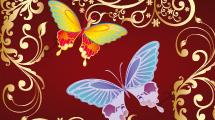 Fondo de Ornamentos y Mariposas
