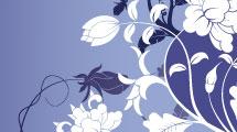 Fondo en tonos azules con motivo floral blanco