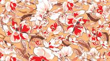 Fondo en tonos marrones con flores rojas y blancas en primer plano
