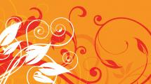 Fondo en tonos naranjas con formas florales en tonos rojo y blanco