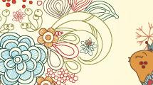 Fondo floral con pajaros