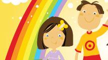 Fondo infantil con arco iris